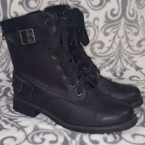 Bamboo Laces Zip Black Combat Boots 7.5